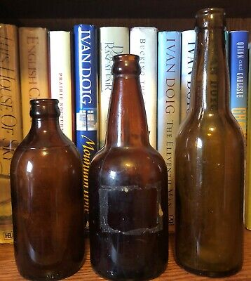 3 Vintage Brown Glass Beer Bottles