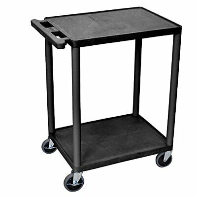 Luxor HE32-B Utility Cart with Swivel Casters 2 Shelves Black