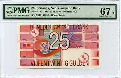 Netherlands 25 Gulden 1989 P 100 Superb Gem UNC PMG 67 EPQ