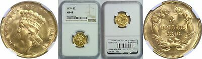 1878 $3 Gold Coin NGC MS-62