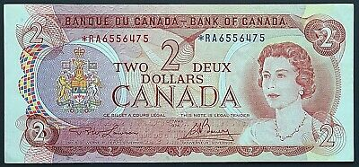1974 Bank of Canada $2 Two Dollar Banknote - Replacement *RA - Great Condition