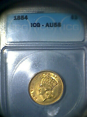 *** 1854, Gold $ 3, Indian Princess, Icg - Au 58 ***