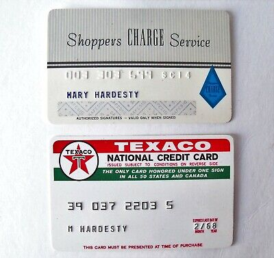 Vintage 1968 Texaco National & Shoppers Charge Service Credit Card Lot - Expired
