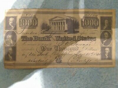 The Bank Of The United States 1840 $1000 Note Reproduction