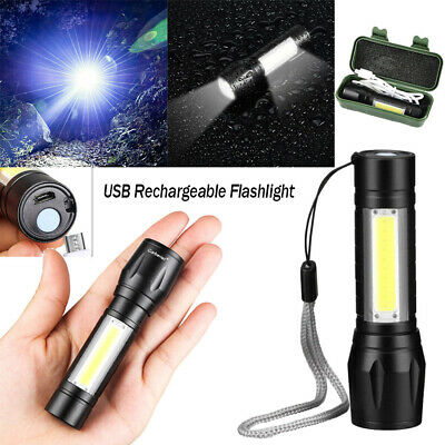Rechargeable Mini LED Torch USB Flashlight Police Zoom Camping Hiking Lamp Light