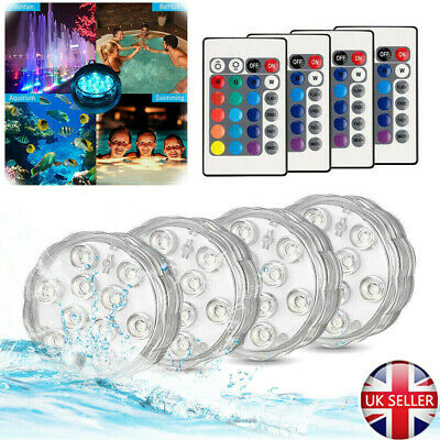 Details about  /UK 10LED Submersible Lamps 4X Hot Tub SPA Led IR Swimming Remote Pool Pond Light