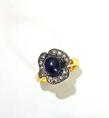 Details about  /Solid 925 Fine Sterling Silver Natural Blue Sapphire Stone /& Pave Diamond Ring