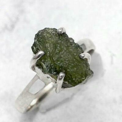 Authentic Moldavite Rough Natural Gemstone 925 Solid Sterling Silver Handmade Ring