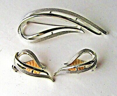 Vintage Sarah Coventry Silver Tone Infinity Knot Brooch Clip On Earrings Set P54