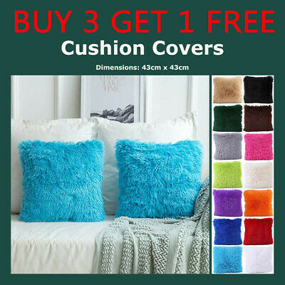 Fashion Fluffy Cushion Covers Furry Scatter Decorative Soft Pillow Case Plush UK