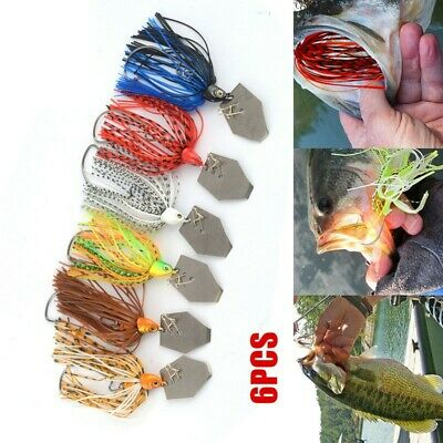 6pcs//lot Chatterbait Blade Bait with Rubber Skirt 11g Buzzbait Fishing Lure