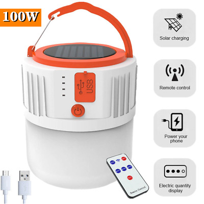 450W Solar LED Bulb USB Rechargeable Emergency Camping Lantern Lamp W// Remote
