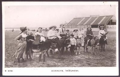 Lincs SKEGNESS Donkeys on beach 1916 RP PPC