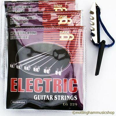 3 Sets Electric Guitar Strings + Free Toggle Capo New