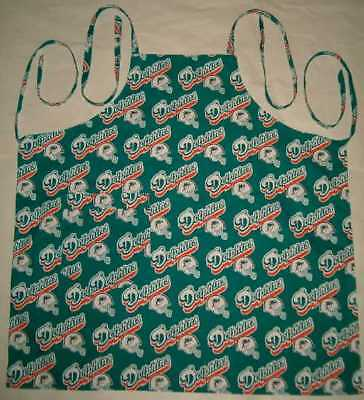 Barbeque Apron Handmade in the USA With Miami Dolphins NFL Cotton Fabric New