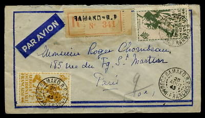 France Aof 1945 Registered.. Soldiers 10F+2F