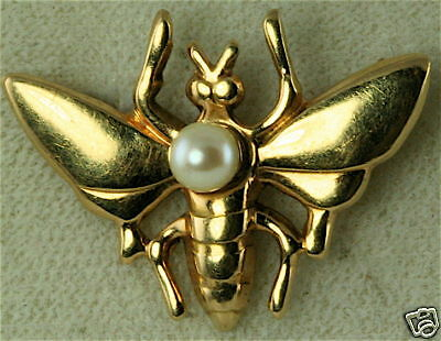 Vintage 1920's 10K Gold Bug Insect Bee Pearl Pin