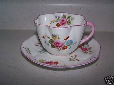 SHELLEY FLUTED CUP AND SAUCER - ENGLAND - BEAUTIFUL
