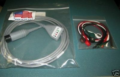 New 5 Lead EKG ECG Cable With Snap Leads 6-Pin Works w/ Many Models  Made in USA