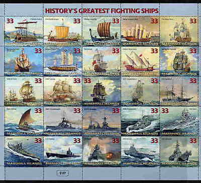 History's Greatest Fighting Ship Stamps - Sheet Of 25!!