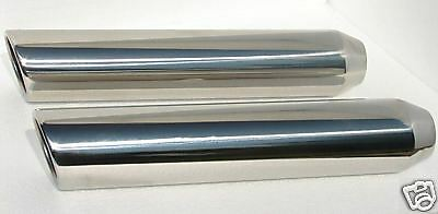 """Pair of Exhaust Tip T304 Stainless Steel Tips 3.5"""" OD 18"""" LNG Rolled Outlet"""