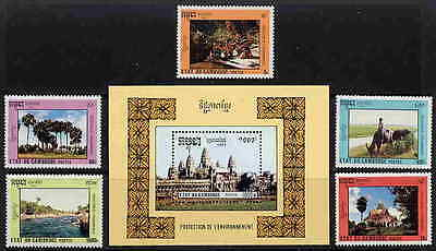 Cambodia 1992  Environmental Protection - Angkor Wat Set & Sheet - $11.75 Value!
