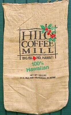 Burlap Bag Hawaii Hilo Mill Coffee Bean Sack 100 Lb New