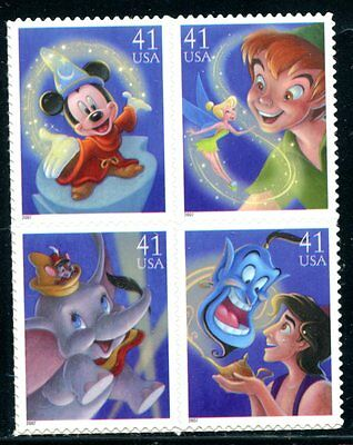United States 2007 Walt Disney - Magic Mint Complete Block Of 4 Stamps!