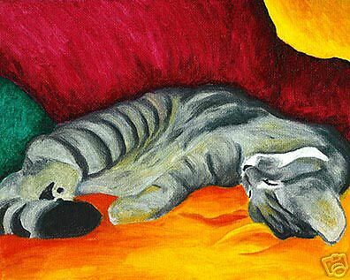 SLEEPING TABBY Cat Kitten Art Print of Painting by VERN
