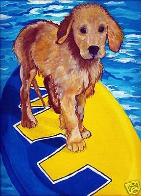 GOLDEN RETRIEVER Surf Dog Art PRINT of Painting VERN