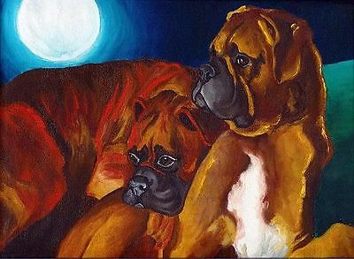 13x19 BOXER Fawn White Signed Dog Art PRINT of Original Watercolor Painting VERN