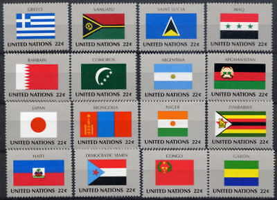 United Nations 1987 Flags Mint Set Of 16 - $8.80 Value!