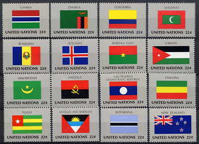 United Nations 1986 Flags Mint Set Of 16 - $8.80 Value!