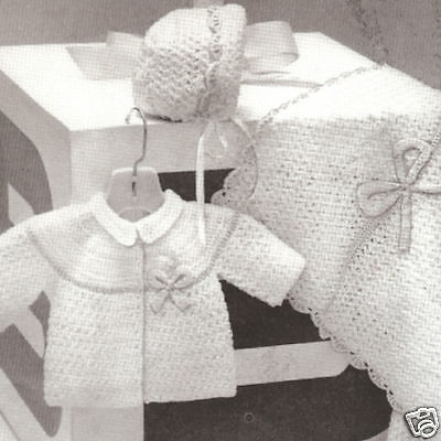 Vintage Crochet PATTERN to make Baby Sweater Bonnet Blanket Set CrochetInfant