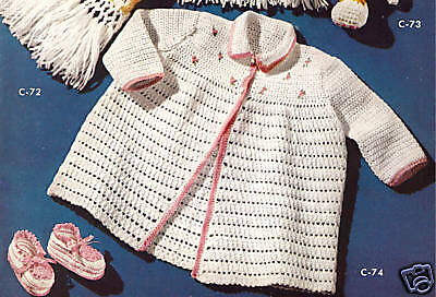 Vintage Crochet PATTERN to make Baby Sacque Sweater Booties PinkRosebud
