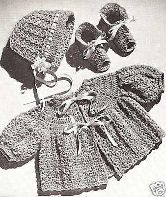 Vintage Crochet PATTERN to make Baby Set Sacque Bonnet Booties Shoes C70Crochet