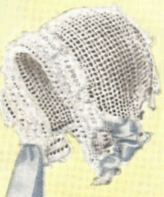 Vintage Antique Crochet PATTERN to make Baby Cap Hat Bonnet Filet 1920BabyJean