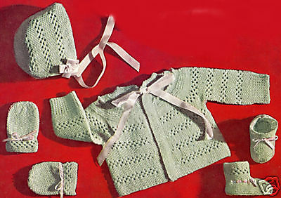 Vintage Knitting PATTERN to make Baby Bonnet Hat Sweater Booties GreenKnitEyelet
