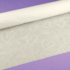 Linked At The Heart Wedding Aisle Runner 100 ft  Ivory