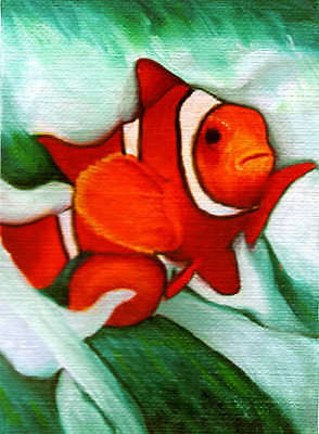 CLOWN FISH Sea Art ACEO Mini PRINT of Painting by VERN