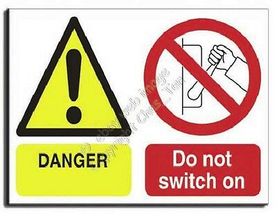Danger Do Not Switch On - Adhesive Vinyl - 250x200mm (MU-008-AE)
