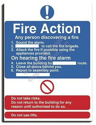 Fire Action-Instruc. Sign S. Rigid-200x250mm(MU-031-RE)