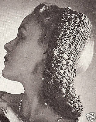 Vintage Crochet PATTERN to make Snood Head Band Hair Net Evening Bag BandSnood