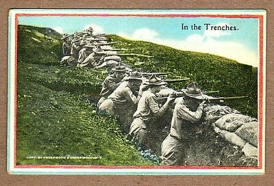 In The Trenches - Vintage Ww1 Doughboy Postcard