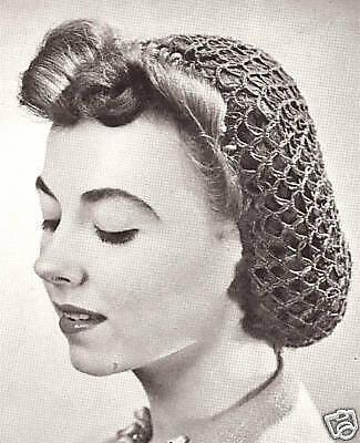 Vintage Crochet PATTERN to make Plain Snood Hairnet Fishnet Head Hair Cover