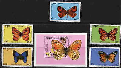 Cambodia 1993 Butterfly Stamps - Mint Set And Sheet!