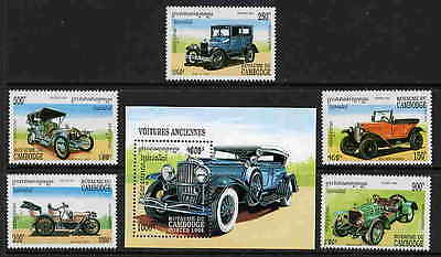 Cambodia 1994 Classic Automobile Stamps - Mint Complete Set And Souvenir Sheet!