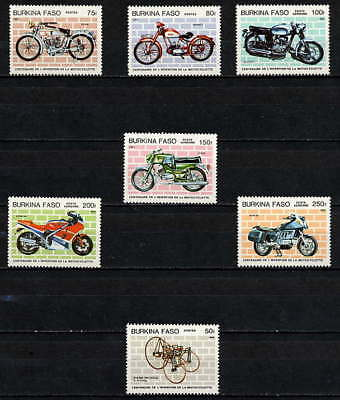 Burkina Faso 1985 Motorcycle Mint Set Of 7 Stamps!