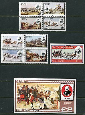 Scotland 1979 Horse Drawn Carriages - Rowland Hill Set Of 8 & 2 Souvenir Sheets!