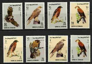 Fantastic 1969 Umm Al Qiwain Falcons Mint Complete Set Of 8 Stamps!